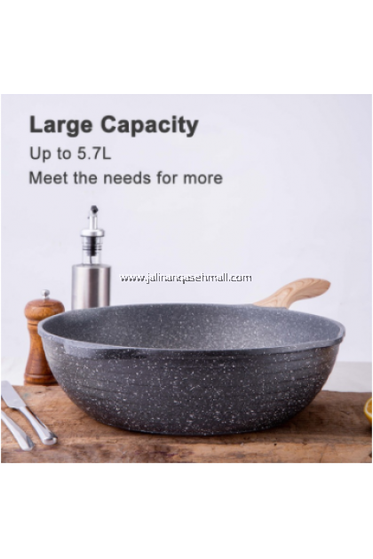 JEETEE 2 Piece Marble Stone Non Stick Cookware Set (32CM Wok+24CM Soup Pot) WITH 3 FREE GIFT